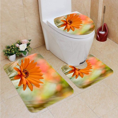 XDDJA Close up an Flower in a Field 3 Piece Bathroom Rugs Set Bath Rug Contour Mat and Toilet Lid Cover - image 2 of 2