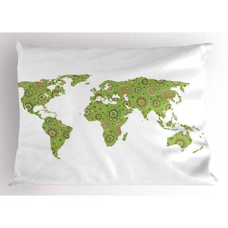 Modern Pillow Sham Ethnic Stylized World Map Chart Environment Flourishing Original Artisan Picture, Decorative Standard Size Printed Pillowcase, 26 X 20 Inches, Lime Green, by Ambesonne (Standard Size Chart)