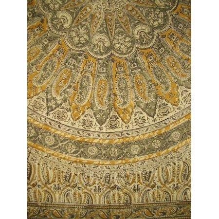 Veggie Dye Block Print Cotton Tablecloth 60