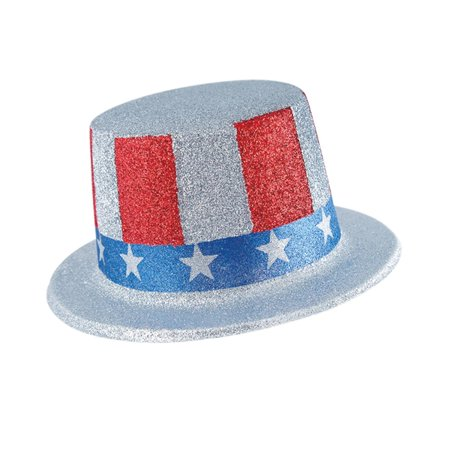 Club Pack of 24 Red, Blue and Silver Glittered Patriotic Top Hat Costume Accessories