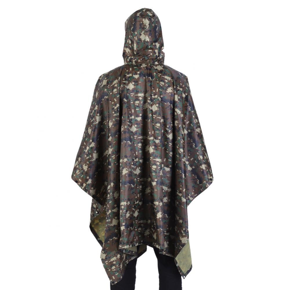 Waterproof Army Rain Poncho Hooded Raincoat Camping Festival Fishing Unisex Cape