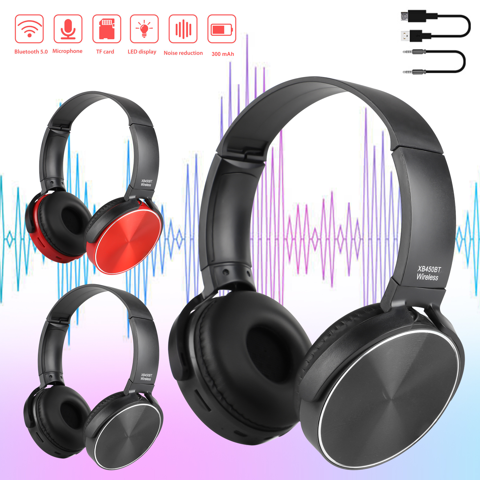 Bluetooth 5.0 Wireless Headphones, Noise Cancelling Over