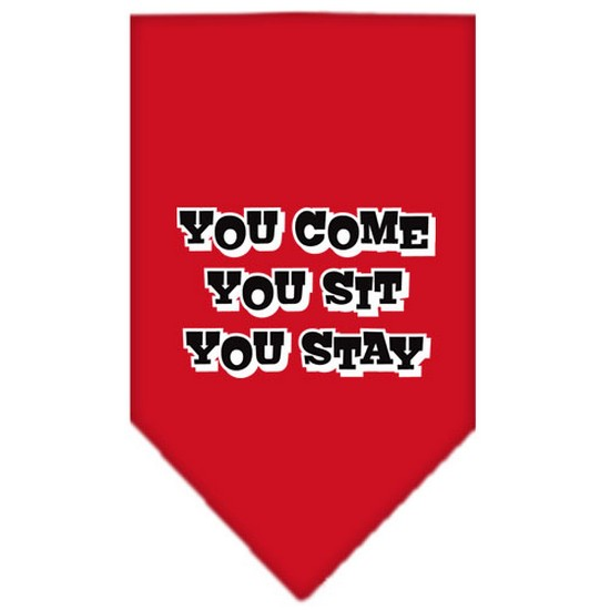 Image of Mirage 66-74 SMRD You Come You Sit You Stay Pet Bandana Red Small