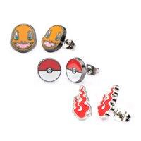 Pokemon Charmander, Pokeball, & Fire Flame Stud Stainless Steel Earrings Set