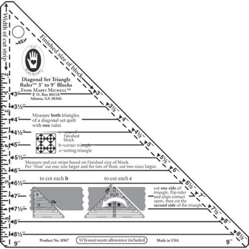 """3""""-9"""" Blocks Small Diagonal Set Triangle Ruler Marti Michell 8967M"""