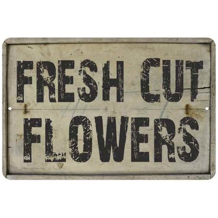 Fresh Cut Flowers Vintage Look Garden Chic 8x12 Metal Sign G8120020011 Vintage Metal Airplane Sign