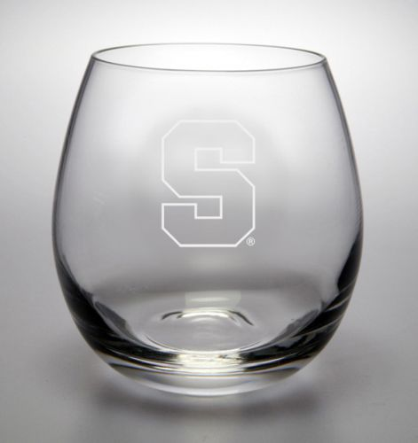 NCAA - Syracuse Orange 11.5 oz Deep Etched Stemless White Wine Glass