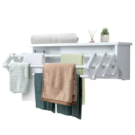 Costway Wall-Mounted Drying Rack Folding Clothes Towel laundry Room Storage Shelf White Folding Clothes Rack