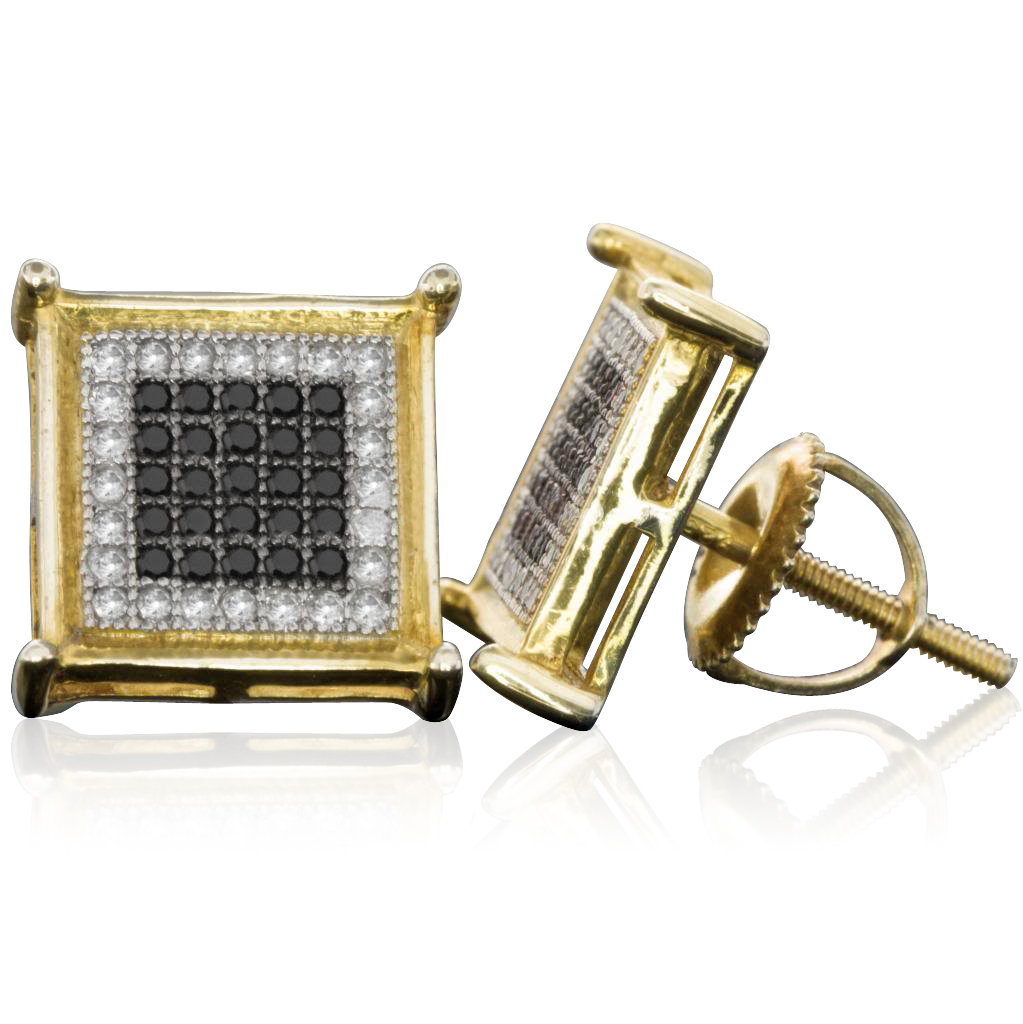 10 MM Micro Pave Diamond Sterling Silver Black and White Cube Stud Earrings (0.33 cttw, H-I color, I1-I2 Clarity)