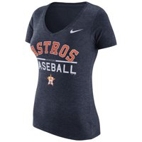 Houston Astros Nike Women's Practice 1.7 Tri-Blend V-Neck T-Shirt - Heathered Navy