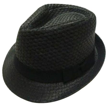 9732fe2e3b5ce Men   Women Summer Short Brim Straw Fedora Hat 7393 Black L XL - Walmart.com