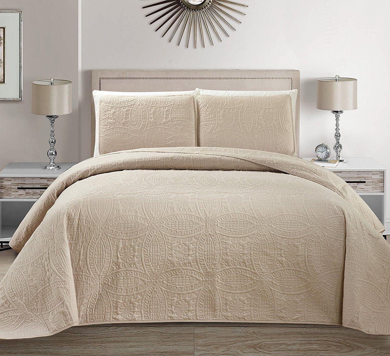 Fancy Linen 3pc King/California King Embossed Oversized Coverlet Bedspread Set Solid Beige/Khaki New # Austin
