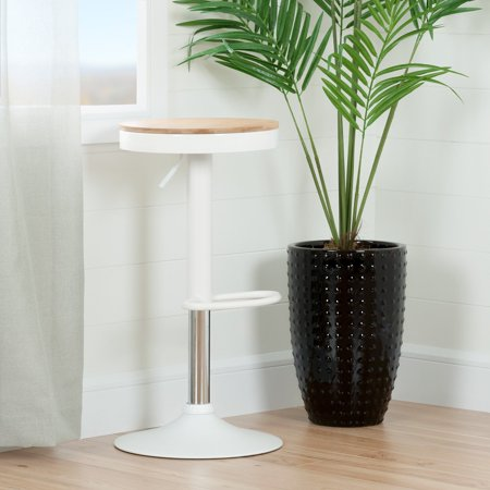 - South Shore Crea Adjustable Metal Stool with Wood Seat, White