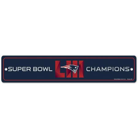 New England Patriots WinCraft Super Bowl LIII Champions 3.75'' x 19'' Street Sign - No Size ()