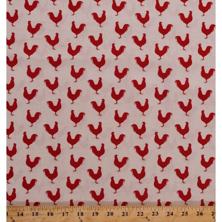 Fabric Barnyard - Cotton Roosters Chickens Barnyard Fowl Poultry Cockerel Birds Farm Animals Country A Day On The Farm Red Tan Cotton Fabric Print by the Yard (4676-26440)