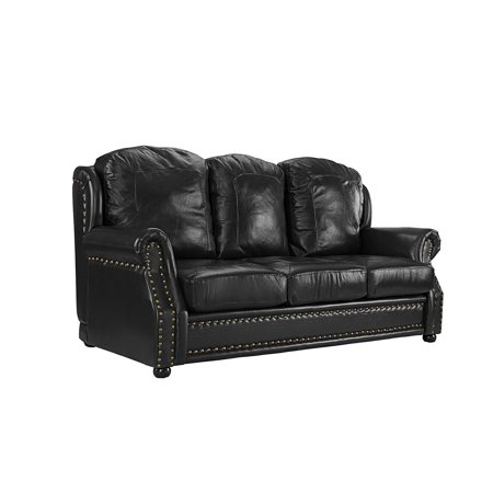 Leather Sofa 3 Seater, Living Room Couch with Nailhead Trim (Black)