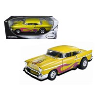 Hot wheels 21356 1957 Chevrolet Drag Car Yellow with Flames 1-18 Diecast Car Model