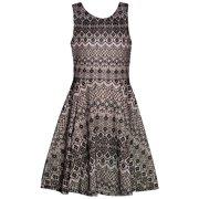 Rare Editions Girls Black White Art Deco Print Knot Detail Dress 7