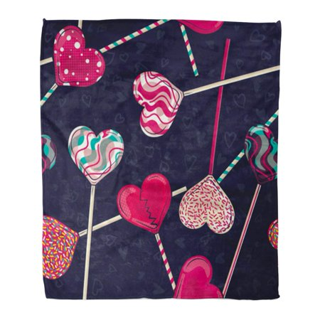 ASHLEIGH Throw Blanket 58x80 Inches Red Abstract Colorful Love Heart Shaped Lollipop Candy for Valentine's Day Warm Flannel Soft Blanket for Couch Sofa Bed
