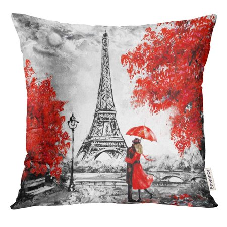 USART Oil Painting Paris European City Landscape France Eiffel Tower Black White and Red Modern Couple Under Pillow Case 16x16 Inches Pillowcase ()