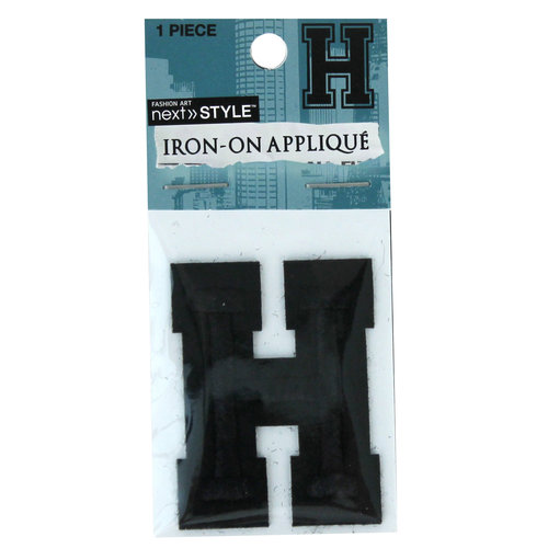 "Next Style Single Embroidery Letter, ""H"", Black"