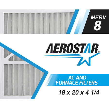 19x20x4 1/4 Carrier Replacement Furnace Air Filters by Aerostar - Merv 8, Box of 2