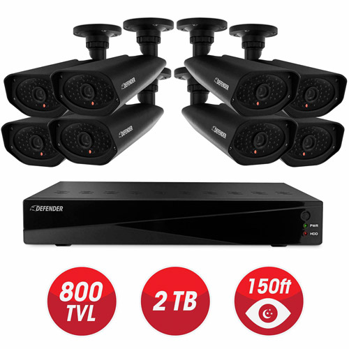 DEFENDER Sentinel Pro Widescreen 8CH Security DVR with 2TB Storage and 8 Surveillance 800TVL Cameras with 150ft Night Vision
