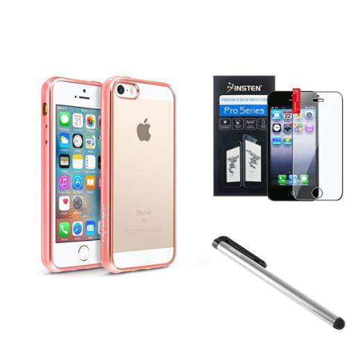 BasAcc Clear TPU Back Cover with Rose Gold Chrome Edge Bumper For iPhone SE 5S 5 (with Protector + Stylus)