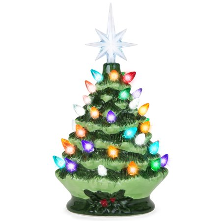 Best Choice Products 9.5in Pre-Lit Hand-Painted Ceramic Tabletop Christmas Tree w/ Lights, 3 Star Toppers - Green ()