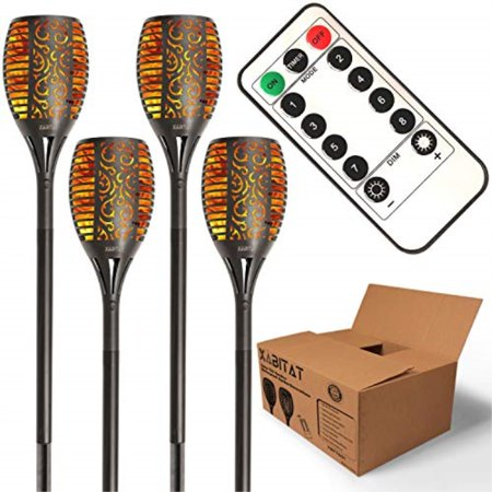 xabitat solar tiki torch lights - remote controlled auto on/off flickering flame yard decorations - led waterproof outdoor lighting - patio and pathway decor - suits lawn deck and driveway - 4