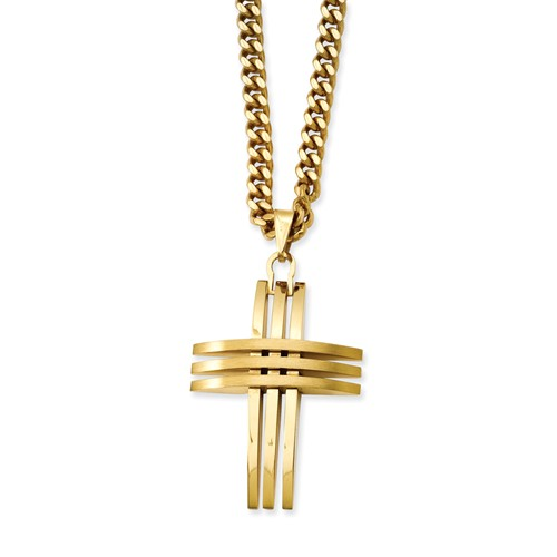 Stainless Steel 24in Gold IP-plated Cross Pendant Necklace