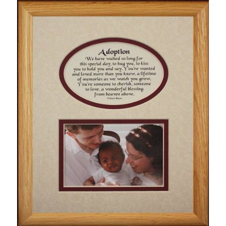 8X10 Adoption Picture & Poetry Photo Gift Frame ~ Cream/Burgundy Mat ~ Great Adoption Keepsake Gift For Adopting Parents