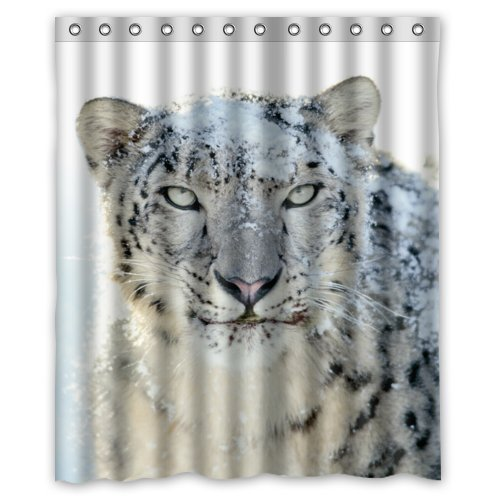 Greendecor Snow Leopard Waterproof Shower Curtain Set With Hooks Bathroom Accessories Size 60x72