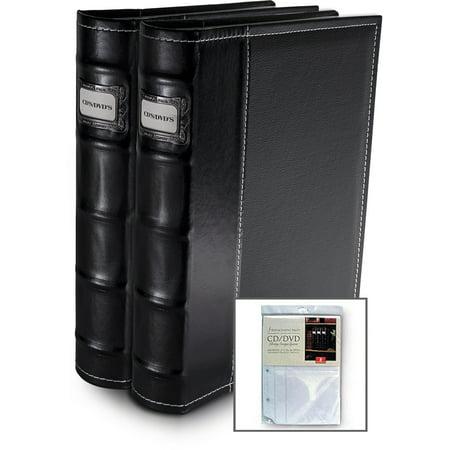 Bellagio-Italia  Black CD/DVD Storage Binder 2Pack with Extra Insert ()