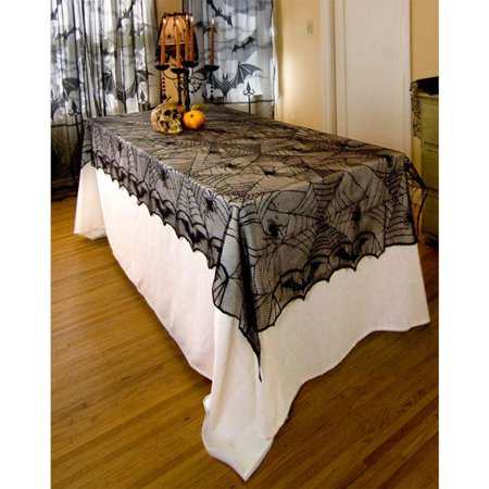 Halloween Serving Table Ideas (halloween lace tablecloth for halloween parties,halloween decor ideas & spooky meals - spider net pattern,48 x 96