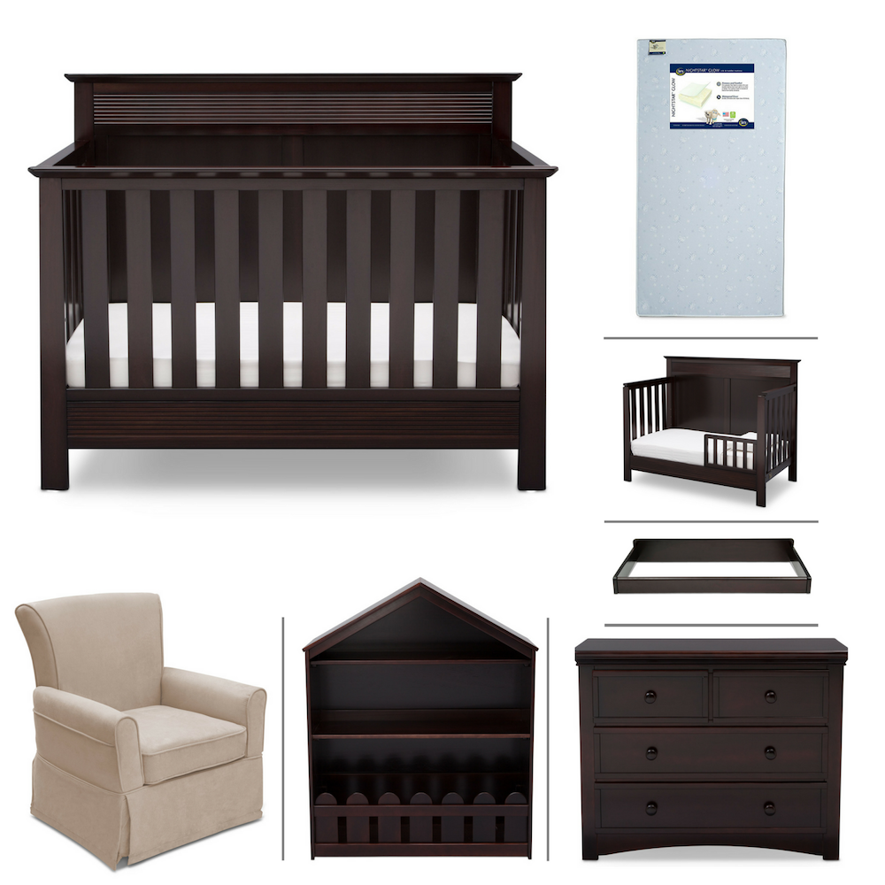Serta Fall River 7-Piece Nursery Furniture Set (Convertible Crib, Toddler Rail, 4-Drawer Dresser, Changing Top, Bookcase, Crib Mattress, Glider), Dk. Chocolate