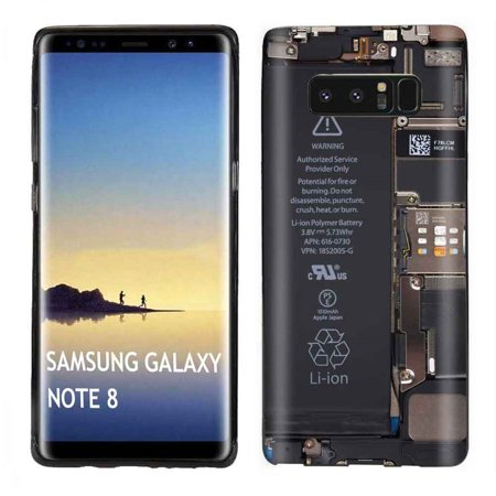 [Tech Cover] Samsung Galaxy Note 8 (Black) Slim Impact Resistant Armor Cover Case [Phone Board Print]