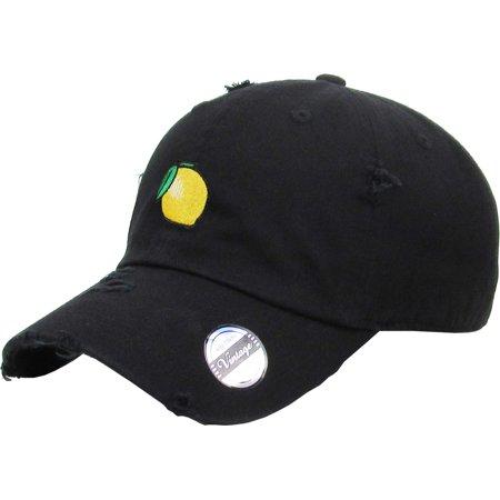 18bb4daf KBETHOS - Lemon Black Vintage Distressed Dad Hat Adjustable Baseball Cap  Banana Pineapple Guac Grape Melon Berry - Walmart.com