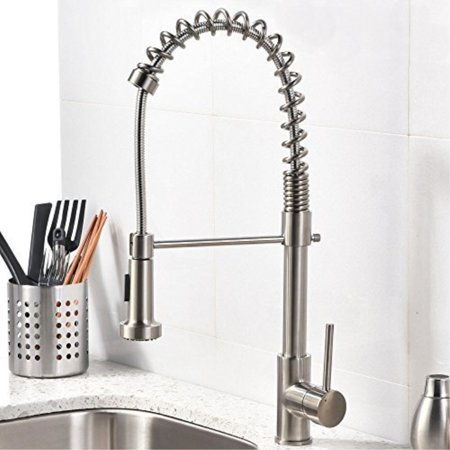 Modern Commercial Brushed Nickel Pull Out Sprayer Single Handle Kitchen Faucet Lever Sink