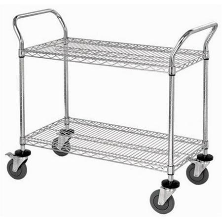 Wire Shelf Cart | Wire Shelf Conductive Mobile Utility Cart 24 X 42 In Walmart Com