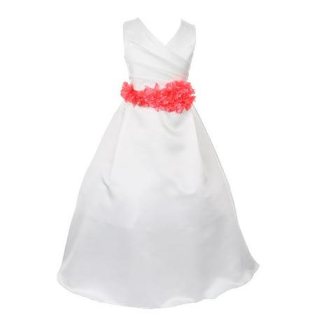 e7a98e450f7a Cinderella Couture - Little Girls Ivory Coral Flower Sash Full Length  Bridal Flower Girl Dress 4 - Walmart.com