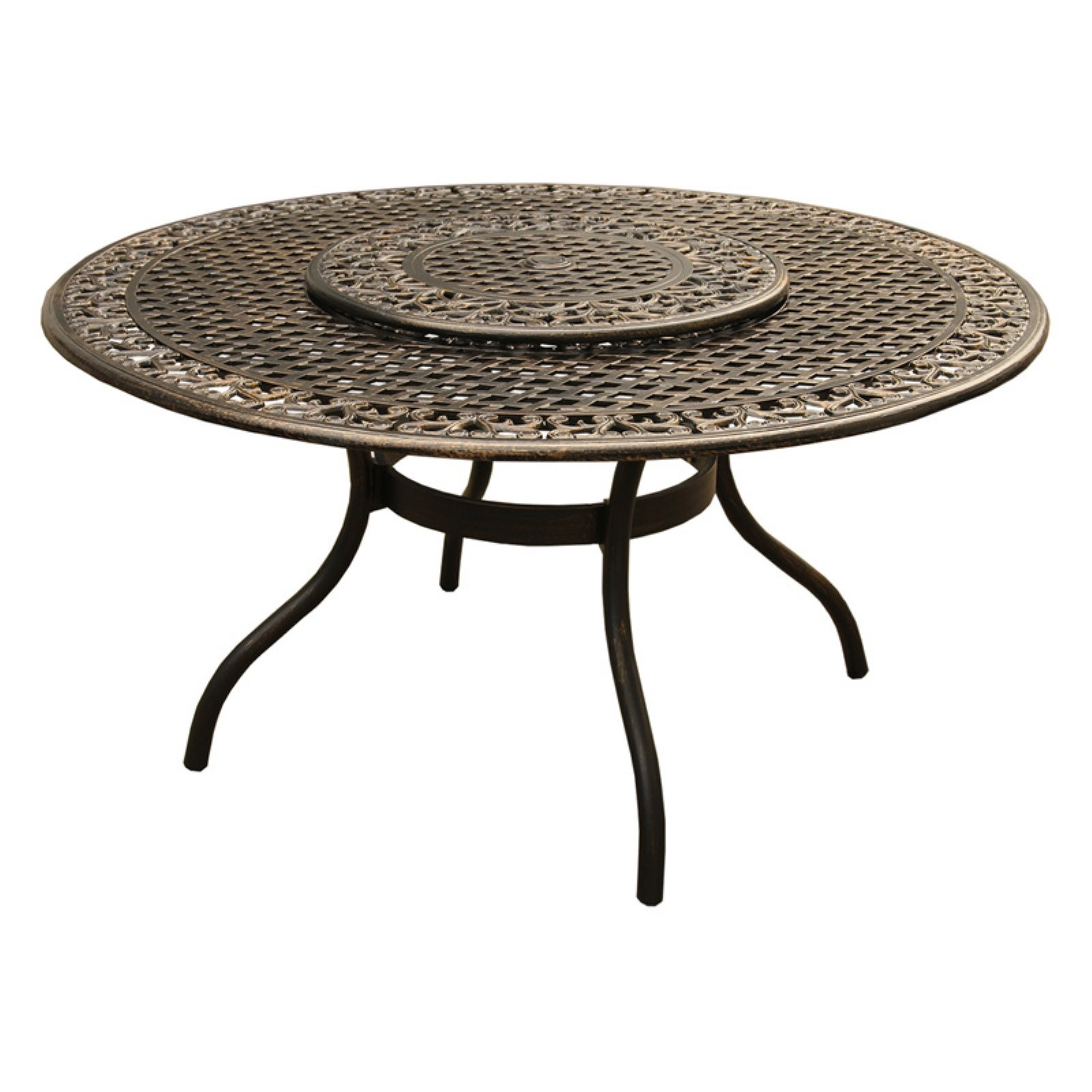 Oakland Living Ornate Mesh Lattice Aluminum Round Patio Dining Table with Lazy Susan
