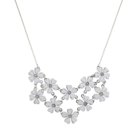 Lux accessories lux accessories silvertone and white flower floral lux accessories silvertone and white flower floral mini statement necklace mightylinksfo