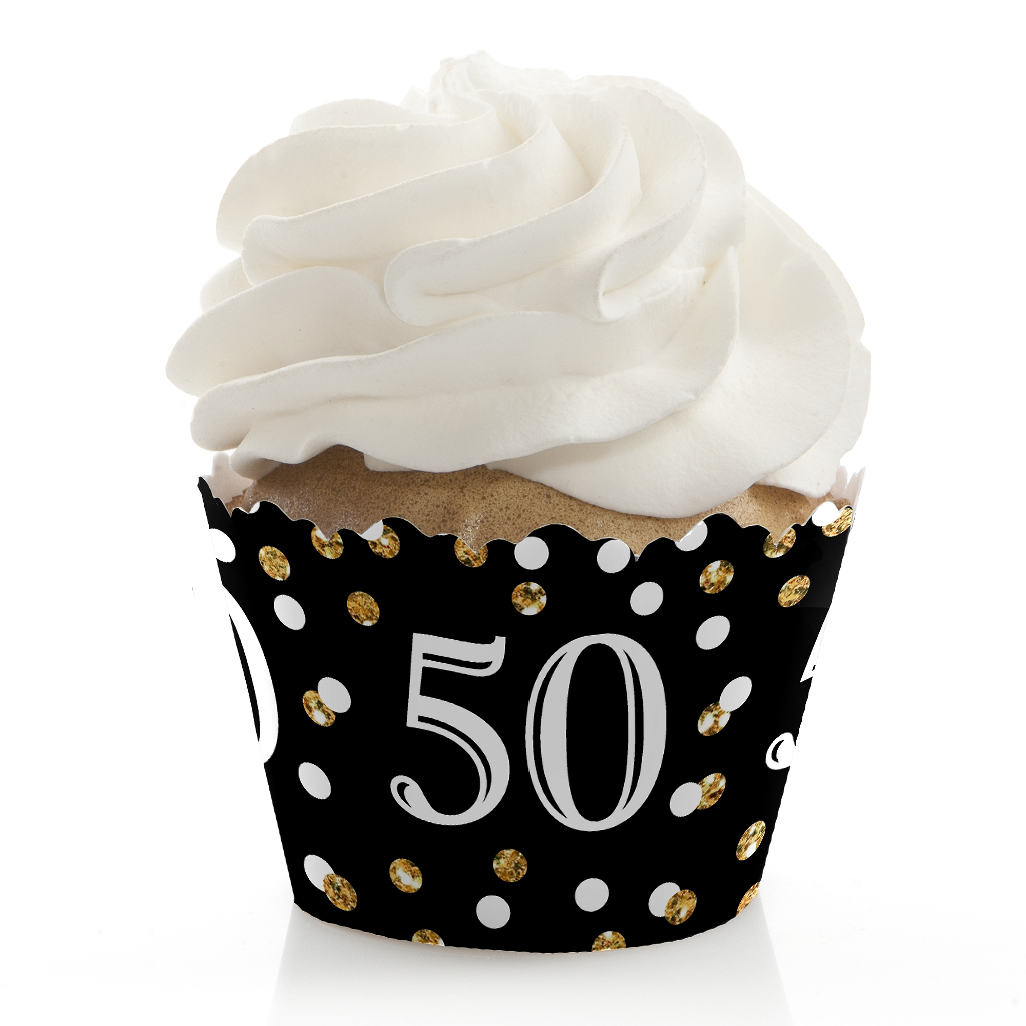 Adult 50th Birthday - Gold - Birthday Party Cupcake Wrappers - Set of 12