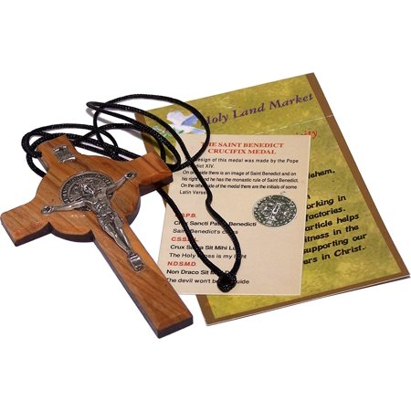 Olive wood St Benedict Crucifix Cross with Medal Pendant - Large ( 3.5 Inches - 9cm - Personalized Medals