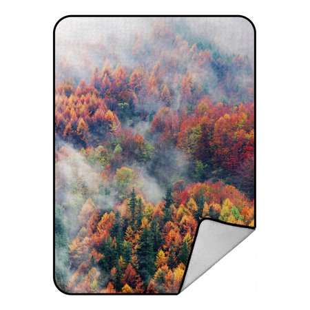 - YKCG Fog Forest Autumn Prime Mountain Blanket Crystal Velvet Front and Lambswool Sherpa Fleece Back Throw Blanket 58x80inches