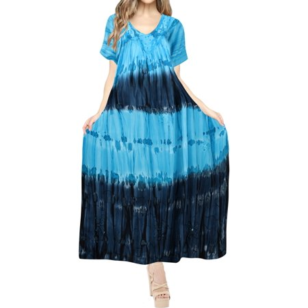 Elegant Smock Swim Rayon Tie Dye Embroidered Flowy Dress for Women Beach Bikini Dress Holiday Party Summer Blue_H698