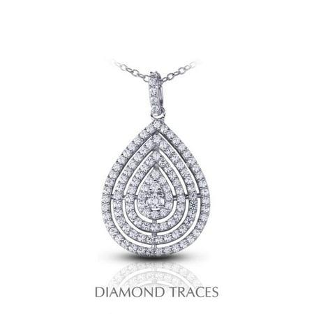 Diamond Traces UD-OS3010-1112 2.17 Carat Total Natural Diamonds 14K White Gold Prong Setting Teardrop Fashion Pendant - image 1 de 1
