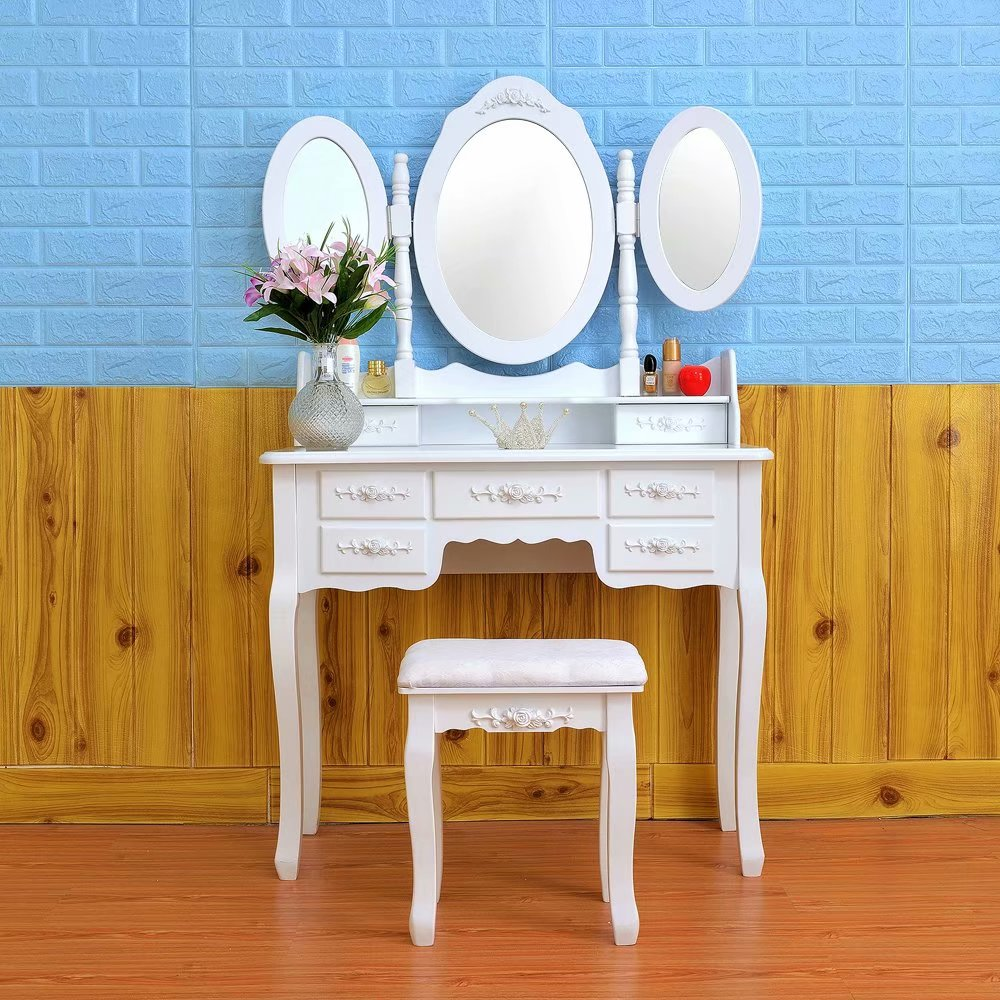 Akoyovwerve Vanity Makeup Table with Mirrors&Drawers ...
