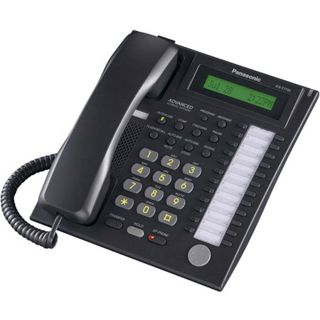 Panasonic KX-T7731 Black Hybrid System Corded Telephone w/ 24 Line Buttons & Backlit LCD Display 34 Button Lcd Telephone